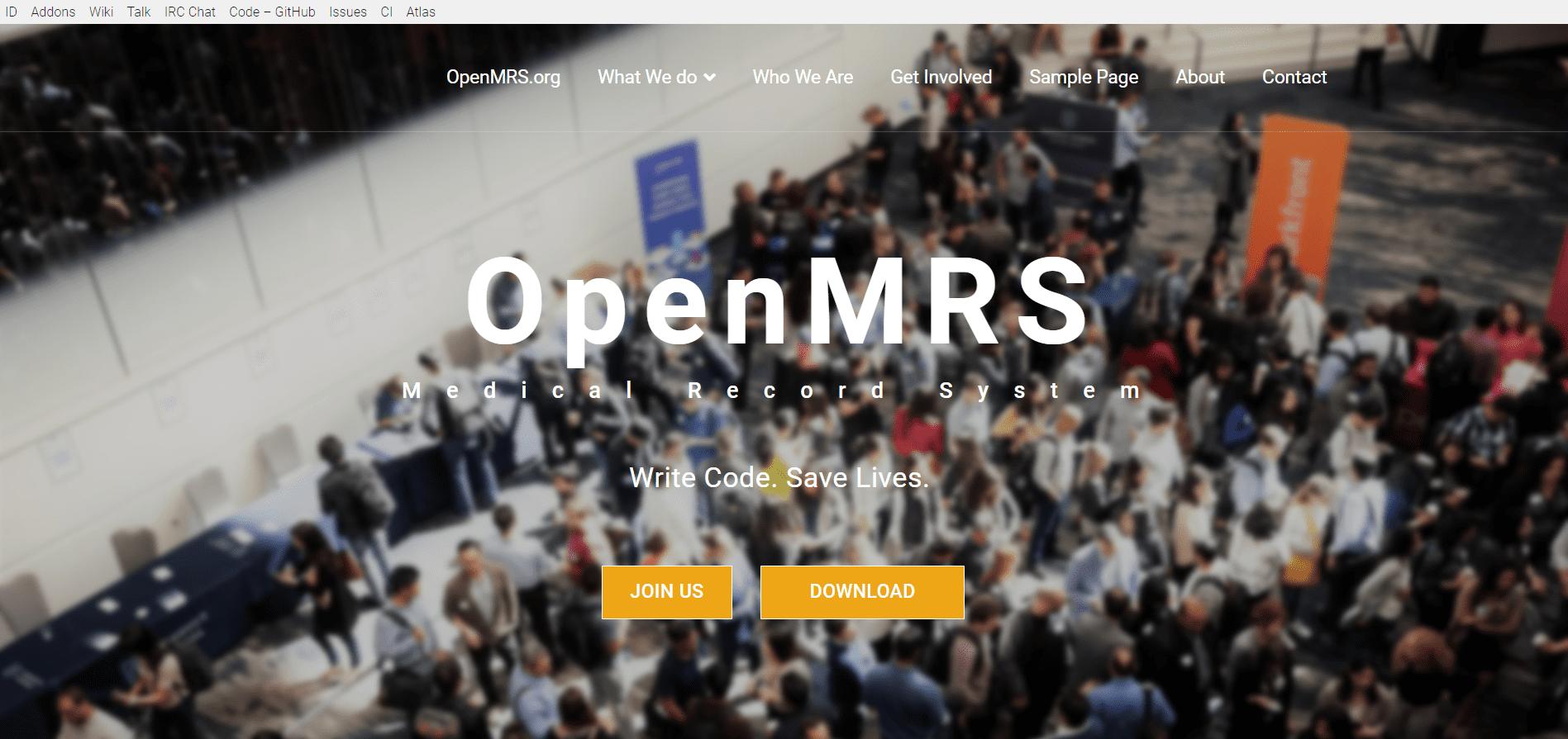 openmrs website, new design, open-source project